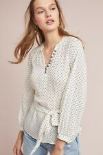 Anthropologie Size 6 Maeve Lucy Puff Sleeve White Polka Dot Tie Waist Blouse