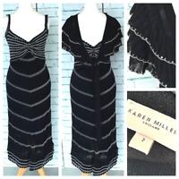 KAREN MILLEN Black Party Evening Dress With Matching Bolero Shrug Sz 2 / UK 10