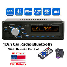1 Din Car Radio+Steering Control FM Bluetooth MP3 Player SD/USB/AUX Stereo Audio