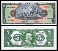 5 Colones 1997 El Salvador Pre-USD$ P-147a UNC /> Columbus