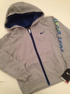 Nike Boys Size 4 Sweatshirt Zip-up Hoodie Grey Blue Just Do It Therma-fit Jacket