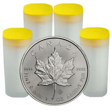 4 Rolls of 25 (100 Coins) 2018 1 oz Silver Maple Leaf $5 GEM BU Coins SKU49797