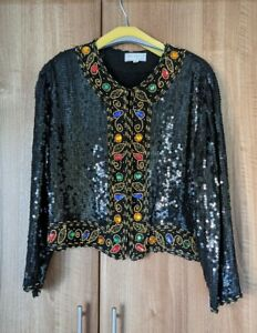 Vintage Ladies Sequin Jacket Tricoville Size Medium Immaculate Condition