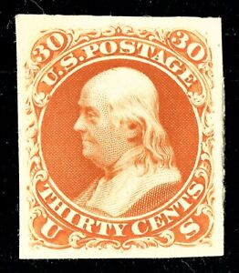 [sto095] Scott#71P4 30c orange Proof on Card VF-XF