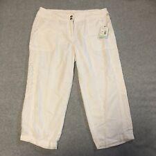 Dept222 Linen Blend Capri Pants 10P white color NWT Ladies Petite Mystic Blues