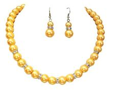 Women Blue Cream Brown Grey Pearl Crystal Diamante Dress Necklace Earrings Set Yellow