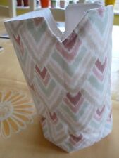 New Padded Cafetiere Cosie Velcro Fastening Large Size Cream Pink Green Chevrons