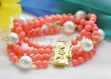 4 Rows 6mm Pink Coral Round Beads & 13-14mm White Baroque Pearl Bracelet 7.5''