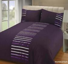 MANAHATTAN Aubergine Purple Striped Single Duvet Cover Bed Set