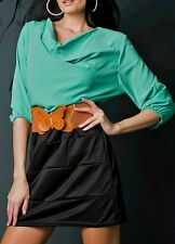 SeXy Miss Damen Wasserfall Mini Kleid Pencil Gürtel 34/36/38 grün schwarz TOP
