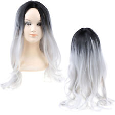 Gradient Black White Synthetic Long Wavy Wigs Women Lace Front Daily Wigs MC