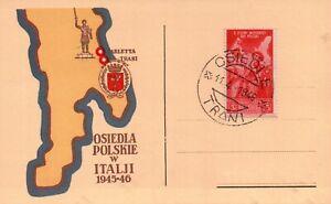 FDC OSIEDLA POLSKIE W ITALJI 1945-46 . TRANI BARLETTA POLONIA Corpo Polacco 1946