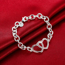 925 Stamped Sterling Silver Filled SF Double Heart Pendant Bracelet BL-A301