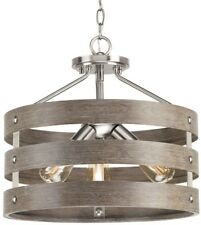 17 in. 3-Light Semi-Flush Mount Rustic w/ Weathered Drift Wood Accents, Nickel