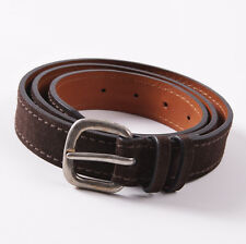 New $295 SANTONI Dark Chocolate Brown Suede Leather Casual Belt 40 W