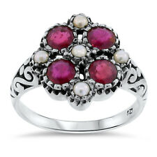 ANTIQUE NOUVEAU DESIGN GENUINE RUBY AND PEARL 925 SILVER RING SIZE 10,  #117