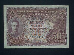 ***Rare Malaya 50 Cents 'VF'  1941  Banknote