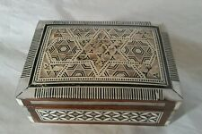 Fine Old Egyptian Carved wooden jewelry box - beautiful mother of pearl inlay