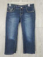 BB Jeans Women's Size 1 Stretch Dark Wash Bling Embellished Crop Capri