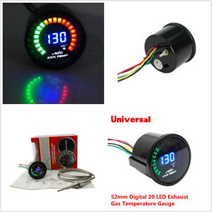 "2"" 52mm Digital 20 LED Exhaust Gas Temperature Gauge EGT With Sensor"