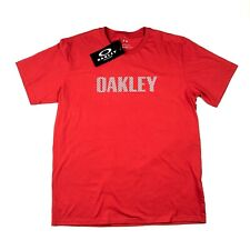 Men's OAKLEY Red Line Spellout logo Tee T-Shirt - Red/White - XL - BNWT Rare