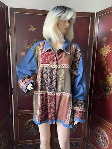 Women's Plus Size 3X ~ BOHO PATCHWORK DENIM JEAN JACKET Trendy! GREAT LOW PRICE!