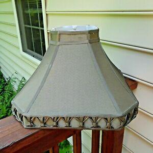 "Vintage Lg. silk  lamp shade  green 18"" diameter 14"" tall"