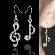 Newest Crystal Rhinestone Music Note Drop Dangle Design Girls Ear Stud Earring