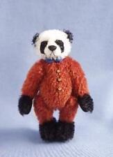 "DEB CANHAM  ""PIERRE PANDA""  MINIATURE MOHAIR PANDA WEARING RED BODY SUIT 4 3/4"""
