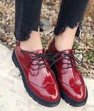 Womens round toe oxford Brogue Patent Leather Brogue Shoes Lace Up Flats shoes