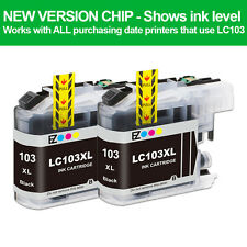 2PK LC 103 XL Black High Yield Ink Cartridges For Brother DCP-J152W MFC-J245