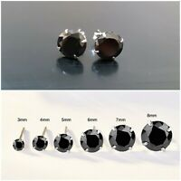 WOMENS MENS SOLID 925 STERLING SILVER ROUND STUD EARRINGS BLACK CUBIC ZIRCONIA