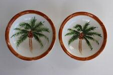 2 Small Ceramic Handpainted Green Palm Tree Round Bowls Brown Bamboo Design Rim