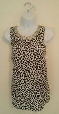 Ladies black/white animal print sleeveless vest top with gem detail size 10