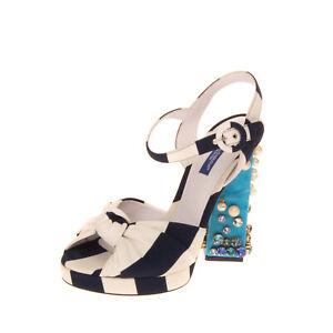 RRP €1660 DOLCE & GABBANA UNDER THE SEA Sandals EU38 UK5 US8 Silk Blend Nautical