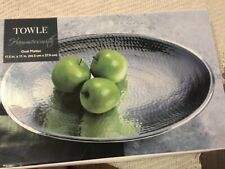 """Used Towle Hammersmith Oval Platter with Base Hammered 17.5"""" x 11"""" Silver"""