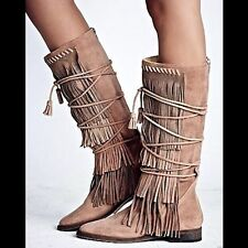 FREE PEOPLE: Faryl Robin Songbird Fringe Boot Tan Taupe 8 US New Retail = $328