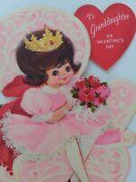 Vtg 1950-60s GRANDDAUGHTER Hallmark PINK Princess GIRL VALENTINE GREETING CARD