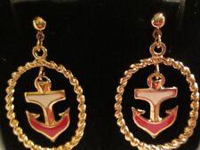 "AVON DROP ANCHOR CLIP EARRINGS IN RED&GOLD TONE 1 1/2"" LONG NO ORIGINAL BOX*"