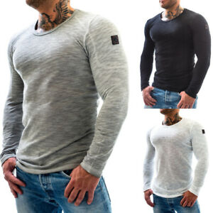 Psycho Urban Herren Slim Fit Langarmshirt Pullover Rundhals Longsleeve Shirt