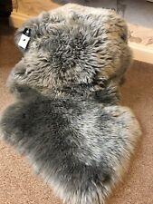 GENUINE Silver PLATINUM Grey sheepskin rug Large ECO pelt STUNNING Fur Gray Lamb