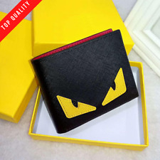 New Top Quality Fendi Monster Eyes Luxury Men Fashion Black Leather Wallet