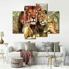 4 Panels Animal Painting Lions Artwork Print Canvas Painting Wall Art Pictures