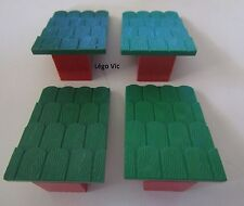 Lego Fabuland 787 x 4 Tuile Green vert Roof Slope red rouge