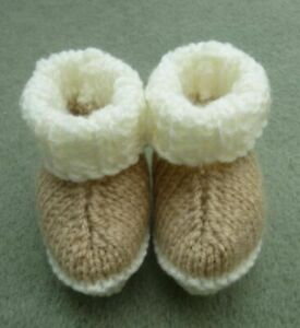 NEW KNITTED HAND MADE BABY UGG BOOTIES BOOTEES BOOTS IN 3 SIZE OPTIONS