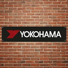Yokohama Banner Garage Workshop PVC Sign Trackside Motorcycle Display BLACK