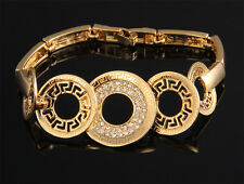 18ct gold plated solid good quality Greek Key bracelet for woman lovely gift 18K