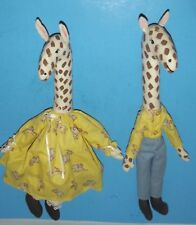 "2 Giraffe Decorative pair Fabric Zoo Animals 16"" Dressed Handcrafted Vintage"