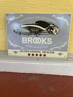 Vintage Brooks Bicycle Seat Dealer Porcelain Sign  12x17 Nice Condition!!