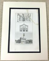 1860 Antique Engraving Print Ancient Cairo Mosque of Tooloon Pavia Italy Church